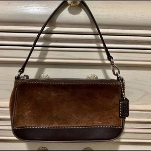 Small Brown Suede and Leather Coach Purse